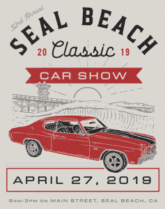 red classic car with Seal Beach Car Classic Show logo and date of event