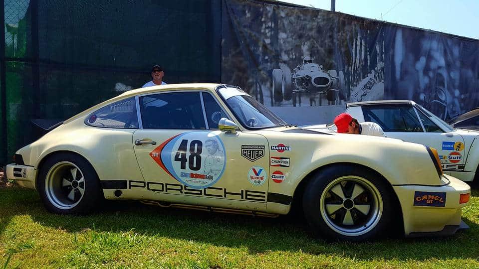yellow Porsche w/ #48 @ Steve McQueen Car Show
