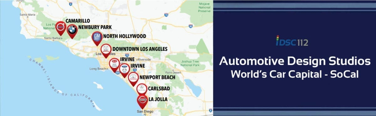 iDriveSoCal Podcast 112 banner with map showing locations of automotive design studios in the Southern California area