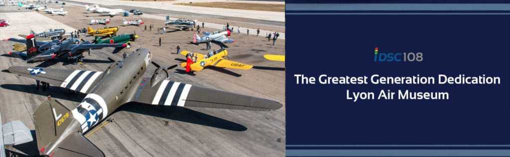 WWII airplanes on tarmac pictured as part of the iDriveSoCal Podcast 108 banner