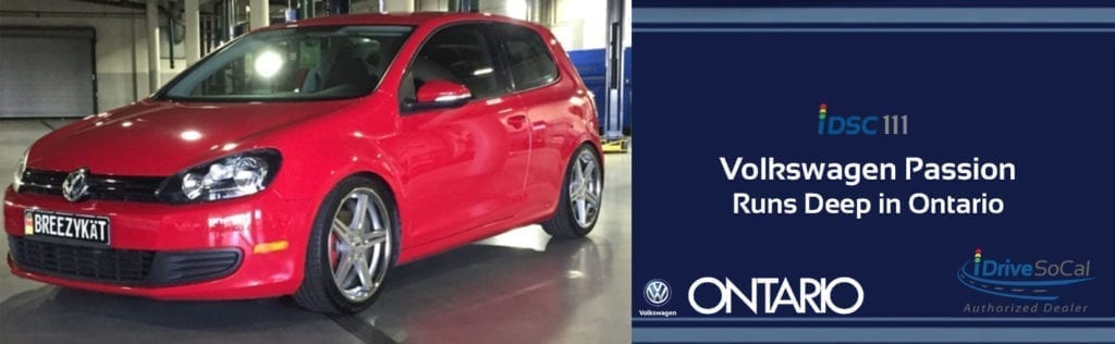 Shiny red VW Golf pictured in garage with iDSC111 banner iDriveSoCal Authorized Dealer Logo and Ontario Volkswagen logo