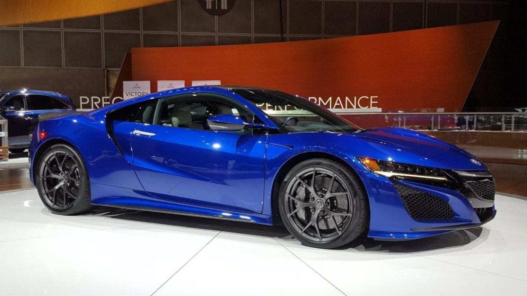 Metallic blue Acura NSX at the Los Angeles Auto Show