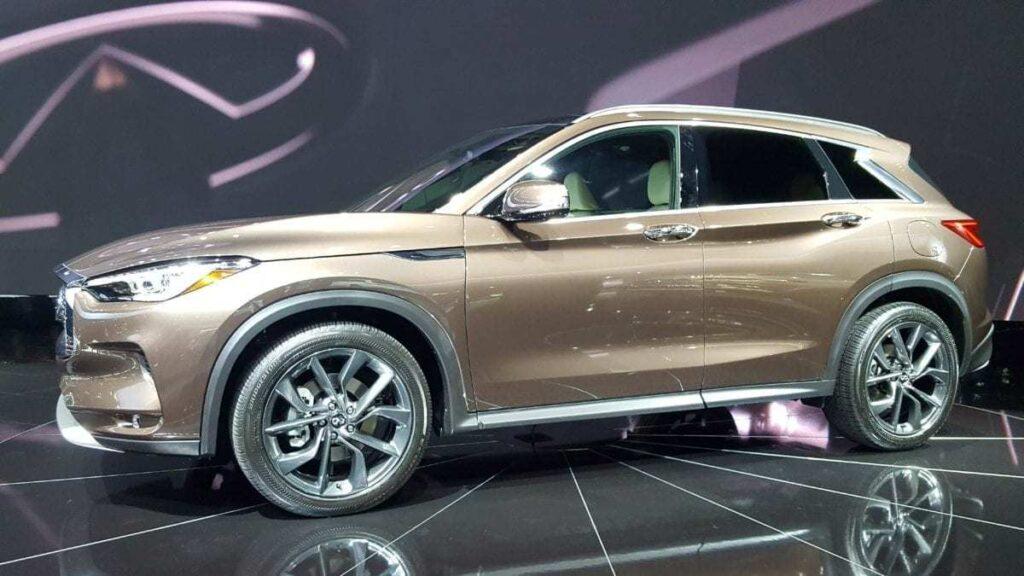 Metallic beige Infiniti QX50 at the Los Angeles Auto Show
