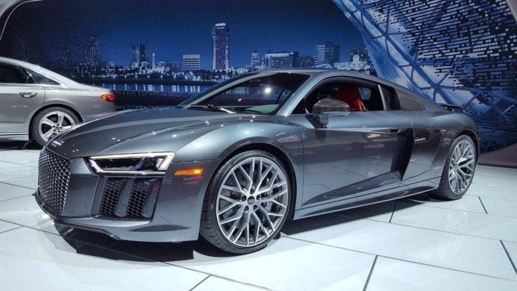 Silver Audi R8 V10 at the Los Angeles Auto Show