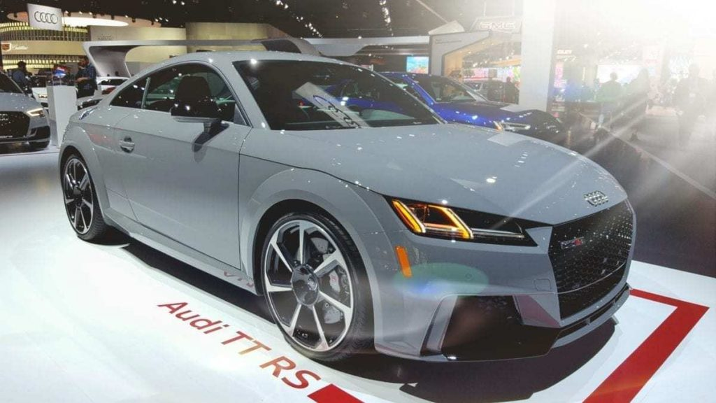 Gray Audi TT RS at the Los Angeles Auto Show
