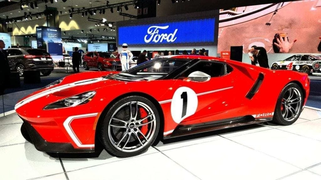 Red with with racing stripes and number 1 on the side Ford GT at the Los Angeles Auto Show