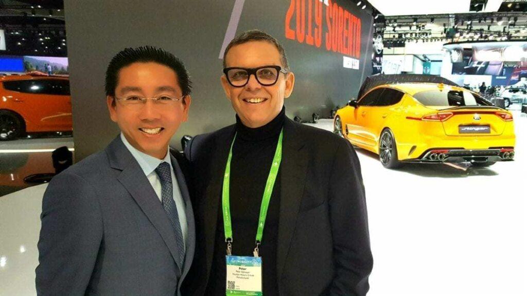 "iDriveSoCal's Clinton ""The Professor"" Quan pictured with Hyundai-Kia Design Chief, Peter Schreyer, at the LA Auto Show"