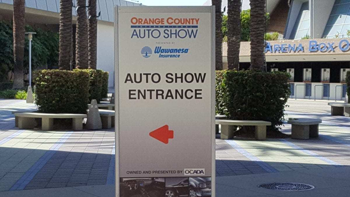 Orange County International Auto Show Entrance Sign at the Anaheim Convention Center