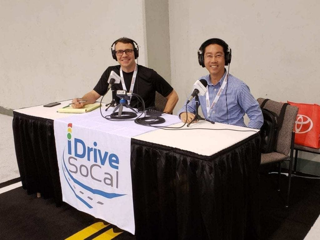 Tom Smith & Clinton, aka The Professor, Quan at the iDriveSoCal Podcast booth during the Orange County International Auto Show
