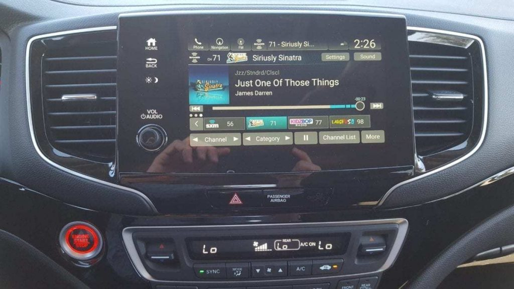 8-inch touch screen on the center stack of a 2019 Honda Pilot