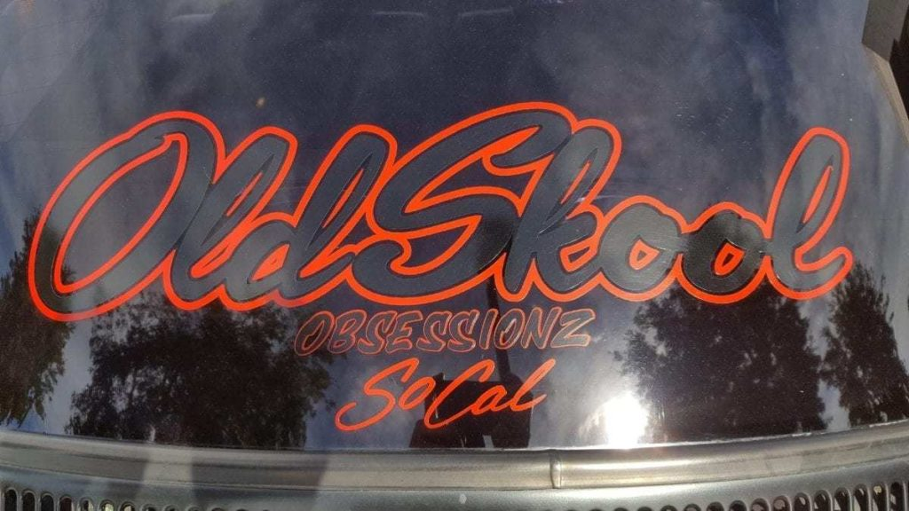 "Red and black lettering ""Old Skool Obsessionz SoCal"""