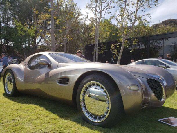 Two-door beige futuristic concept car