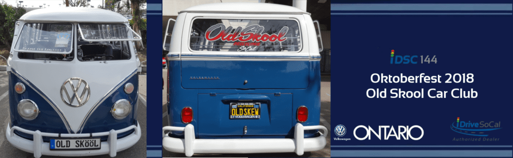 Front facing and rear facing pictures of a classic blue and white Volkswagen Deluxe Window Bus as part of the iDriveSoCal Podcast 144 banner for Oktoberfest 2018, Old Skool Car Club | Ontario VW