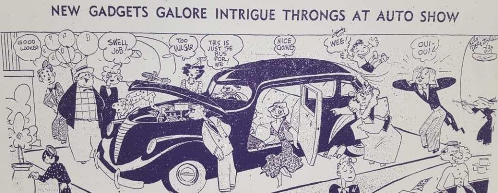 1930's Auto Show Cartoon that could easily apply to auto shows of today
