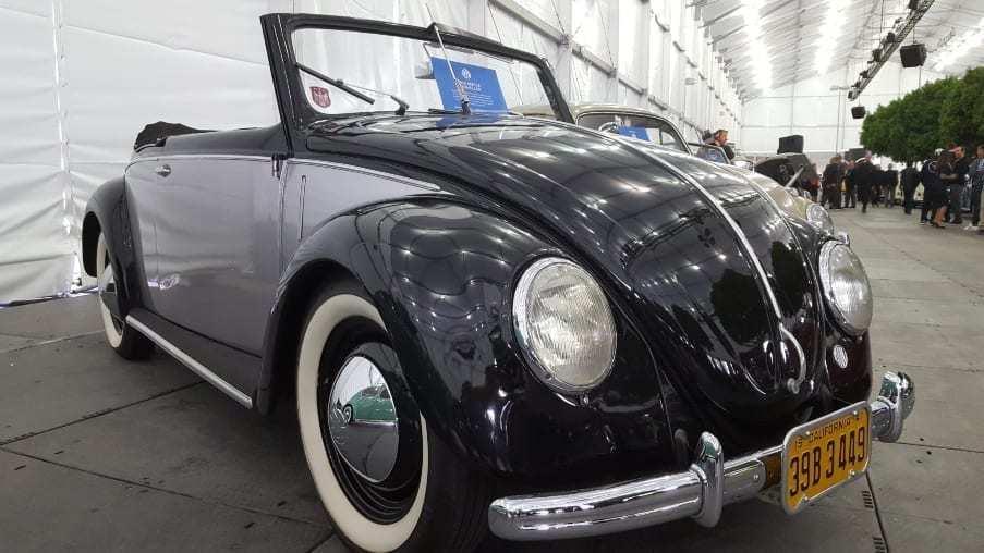 Black w/ silver sided 1950 VW Beetle Hebmuller