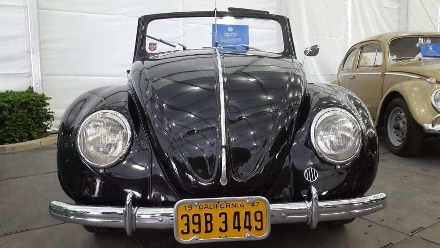 Black front view 1950 Volkswagen Beetle Hebmuller