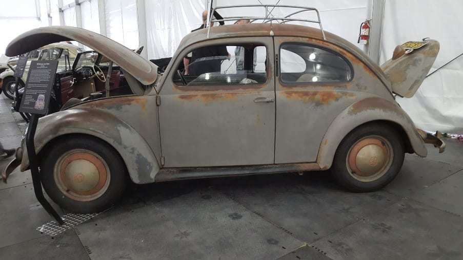 Gray, rust & oxidized 1951 Volkswagen Type-1 unrestored, left-side drive & imported by Max Hoffmann