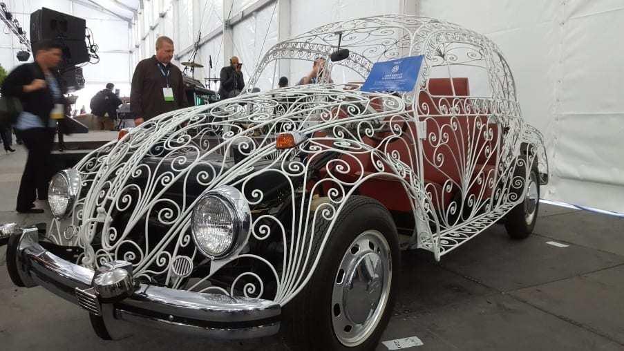 White transparent 1969 VW Wedding Beetle hand-built