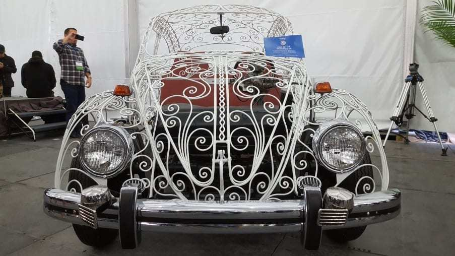 White transparent 1969 Wedding Beetle hand-built, wrought iron