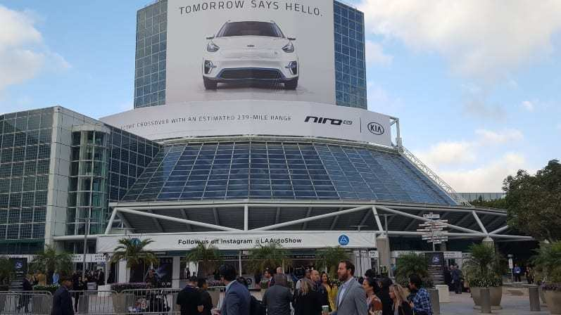 2018 LA Auto Show @ LA Convention Center - exterior of Convention Center entrance with attendees