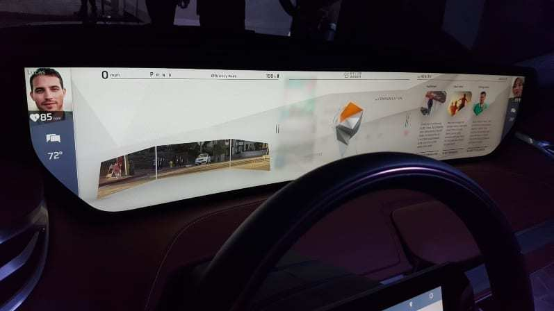 Byton M-Byte Concept Digital Dash display showing driver and passenger images, heart-rate and digital monitor in dash replacing rear-view mirror