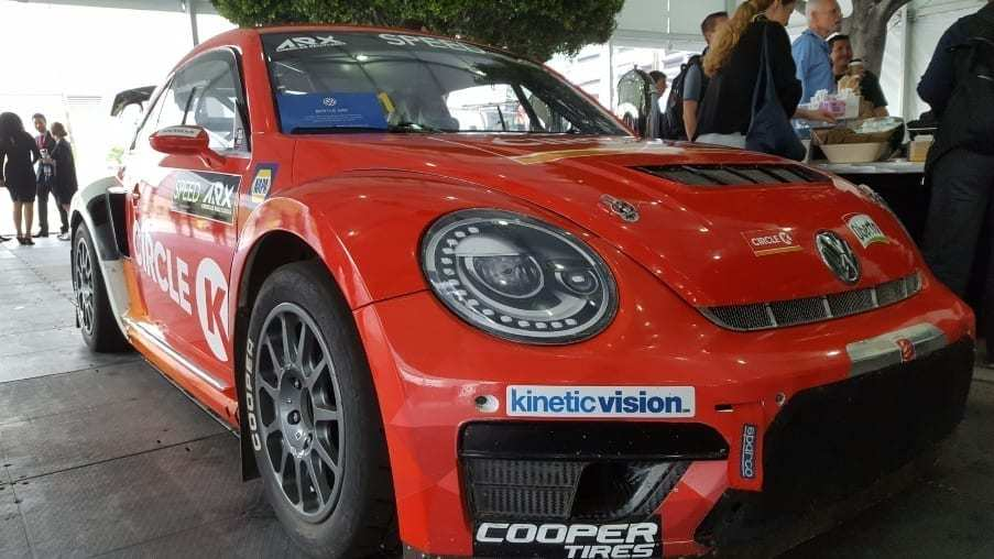 Red Circle K VW Beetle race car front-passenger view
