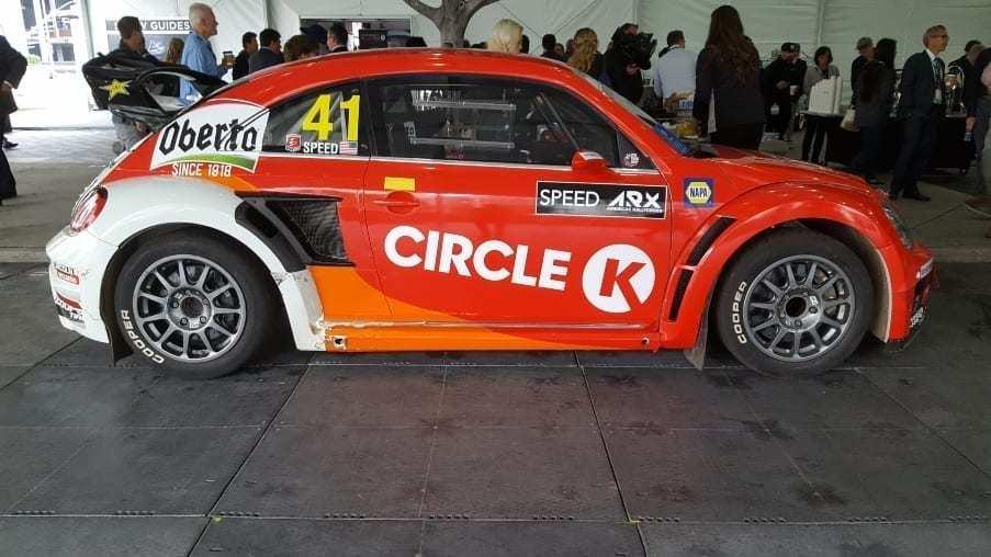 Red, orange & white Circle K VW Beetle racer passenger profile