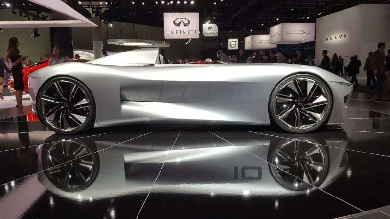 Infiniti Concept Passenger-side profile 2018 LA Auto Show - Sleek, gray, one-seat and no windshield