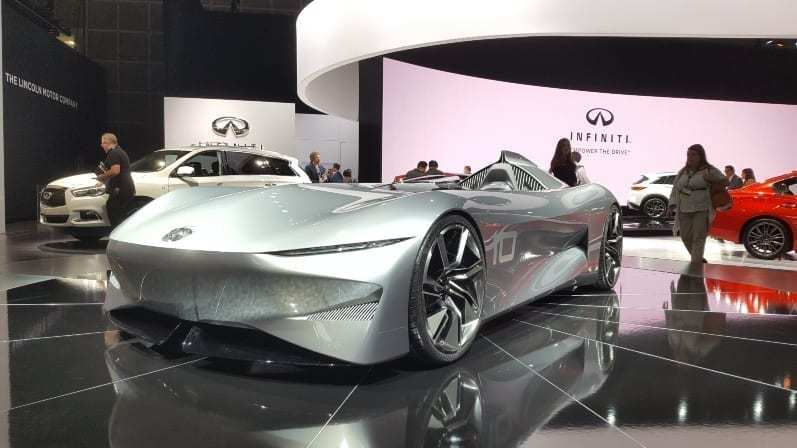 Infinti Concept Driver-side front-view 2018 LA Auto Show - Sleek, gray low-profile, one-seat and no windshield