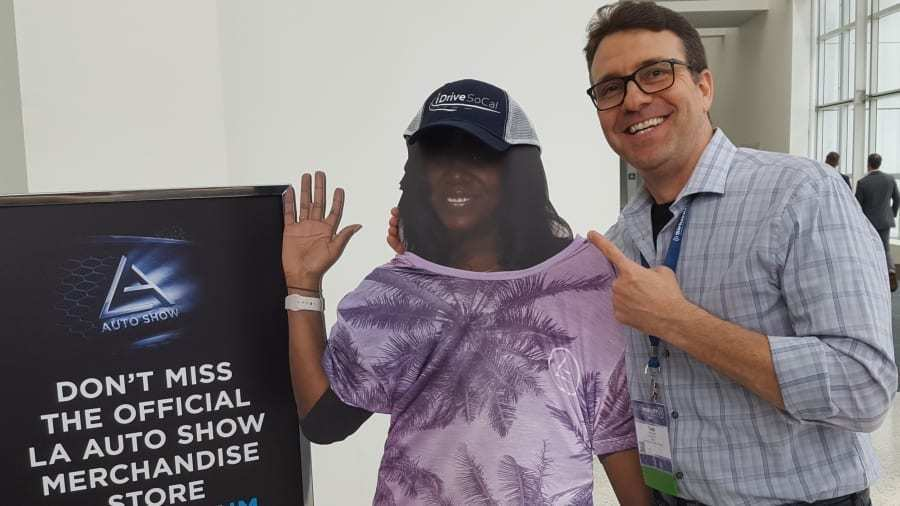 LA Auto Show's Alexis Evans cut-out & iDriveSoCal's Tom Smith