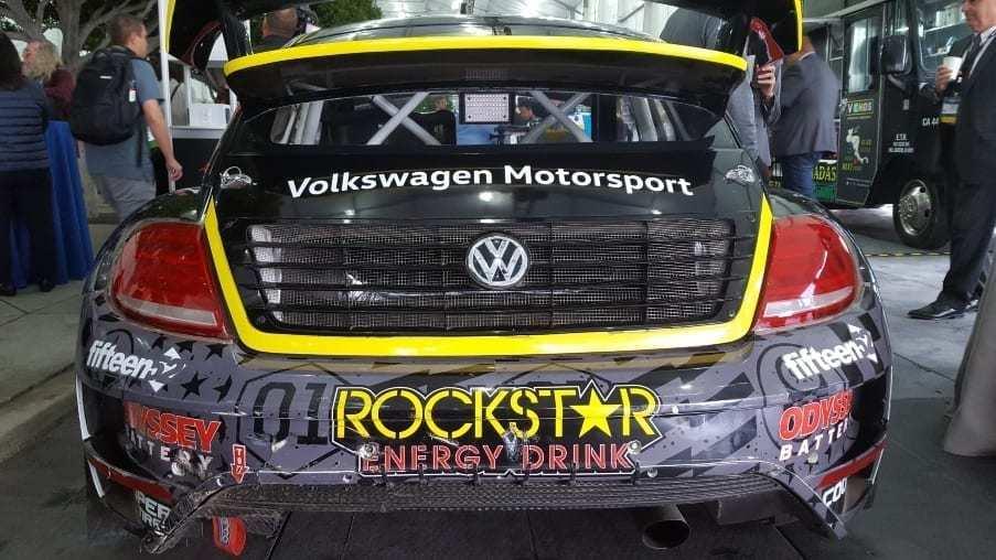 Black & yellow Rockstar Engergy Drink VW Beetle race car rear-view