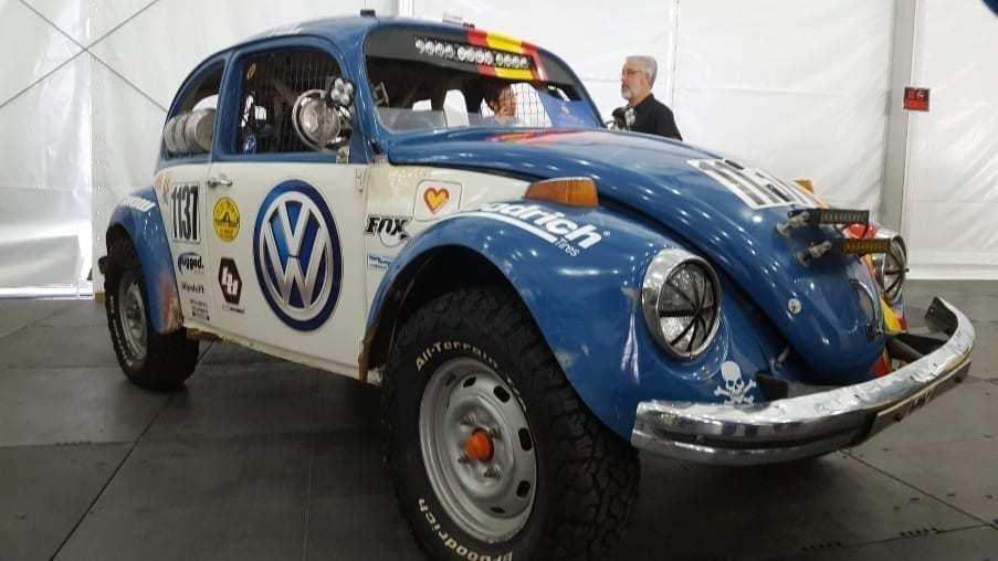Blue & white Volkswagen Beetle off-road racer passenger-front profile