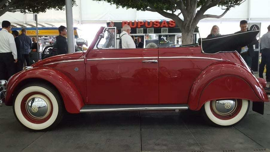Classic red Volkswagen Cabriolet drivers profile