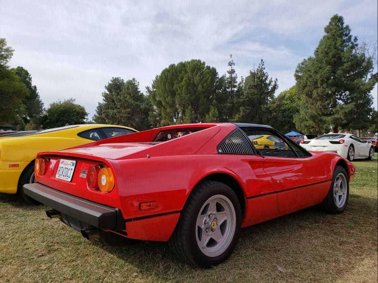 Red Ferrari rear passenger profile