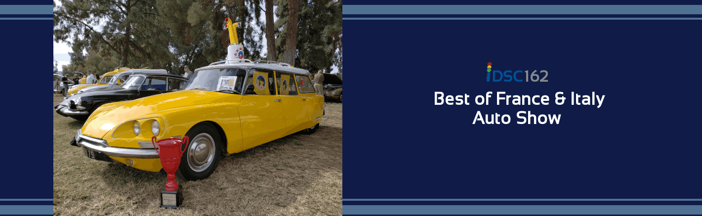 Strange yellow station wagon pictured with trophy @ The Best of France and Italy Car Show as part of iDriveSoCal Podcast banner 162