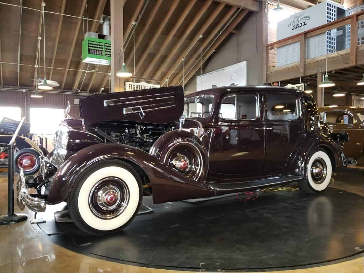Dark brown long-nose 1940's sedan at the Motte Historical Car Museum