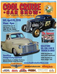 classic and antique cars with musical band on stage old town la verne logo