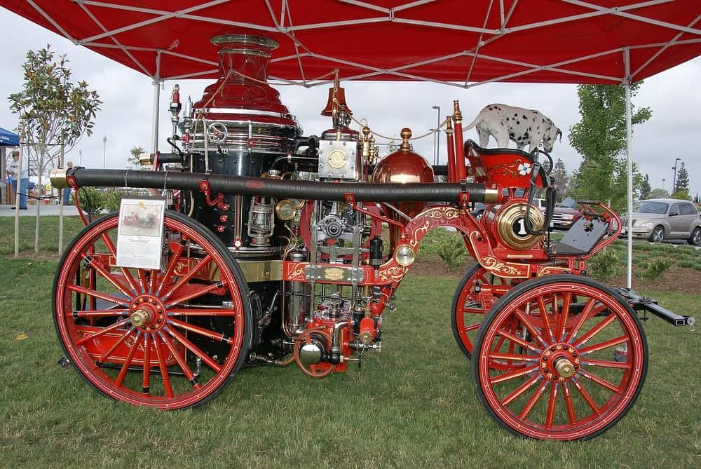 Fountain Valley Car Show horse drawn fire trucki