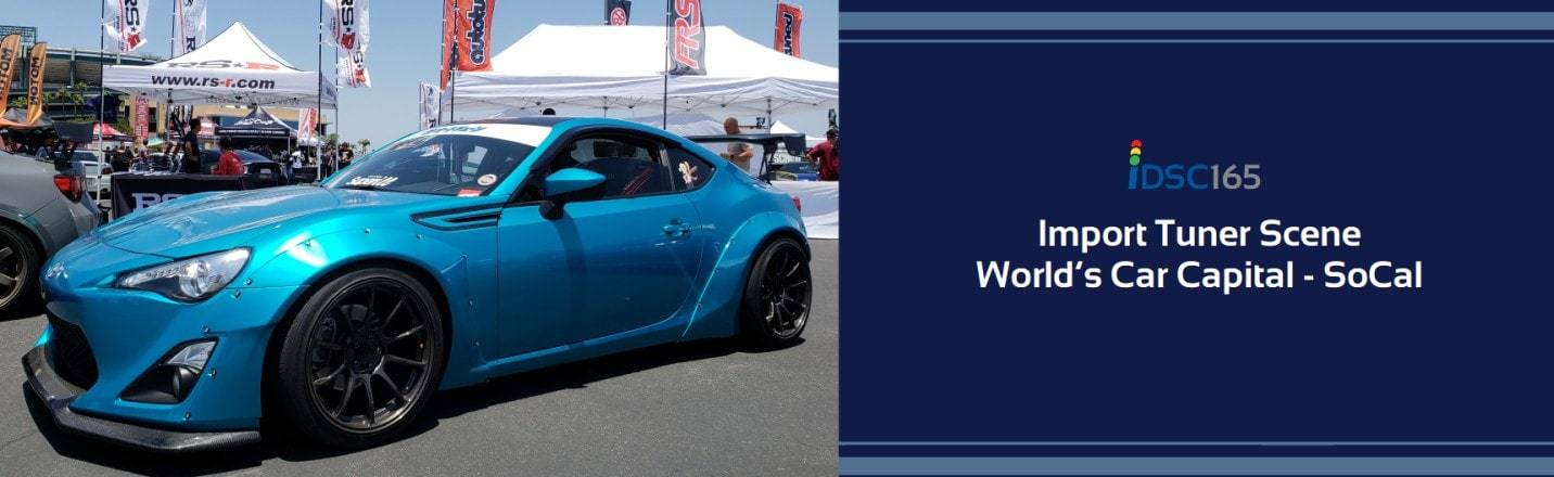 Blue Toyota 86 looking tuned and race ready as part of the iDriveSoCal Podcast 165 banner Import Tuner Scene