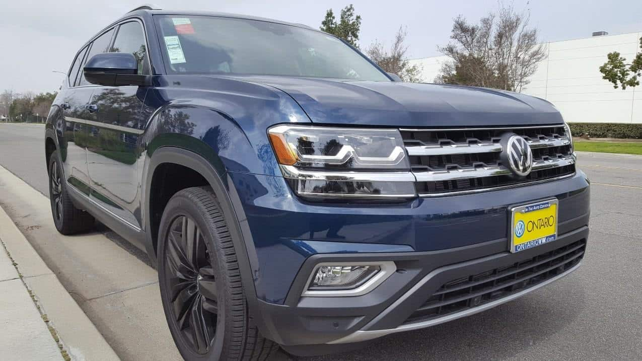 Blue 2019 VW Atlas front passenger-side view