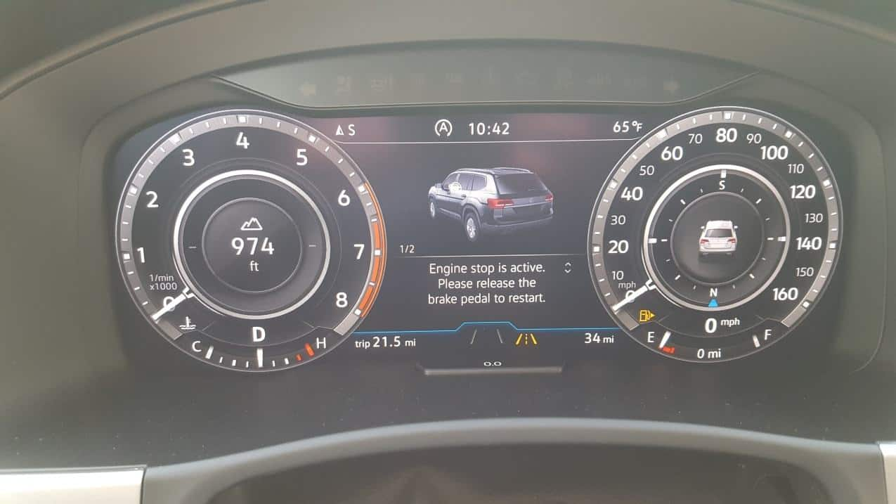 2019 VW Atlast digital dash