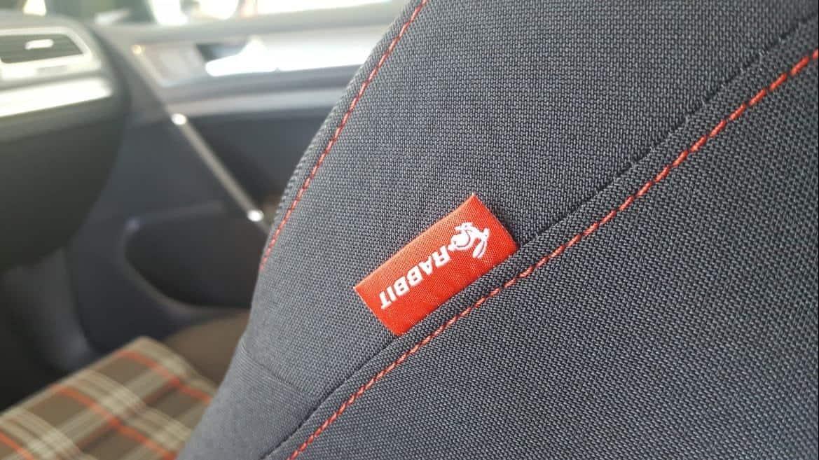 2019 VW Golf Rabbit red Seat Tag