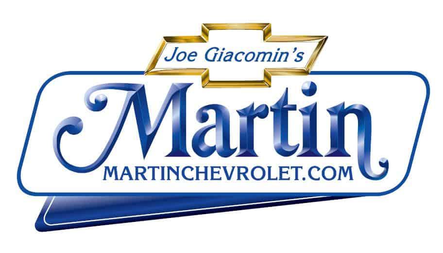 White blue & gold Martin Chevrolet logo