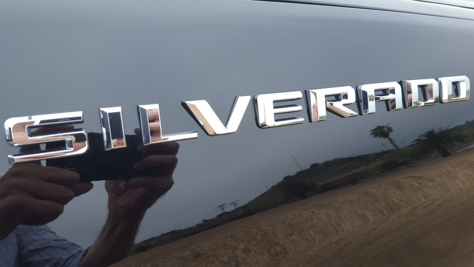 Black 2019 Chevy Silverado 1500 badge