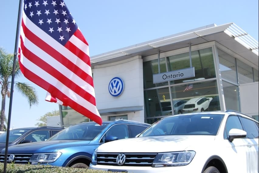 Exterior of Ontario VW w/ American flag