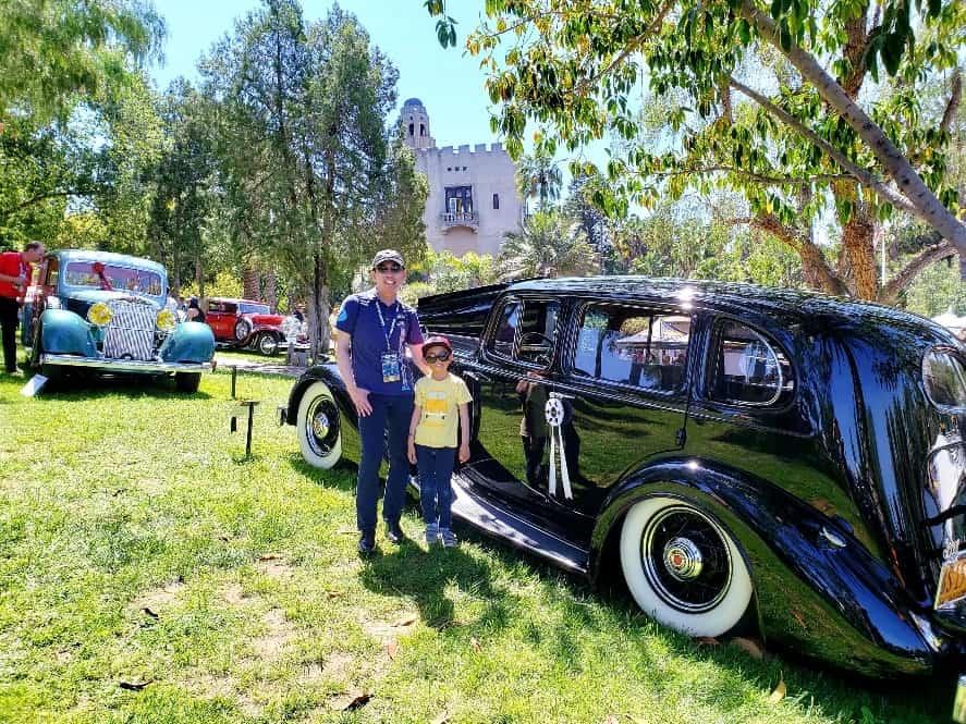 Professor Quan and his son enjoy the Benedict Castle Car Show