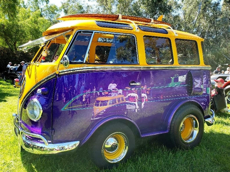 Purple and gold custom-shortened VW microbus