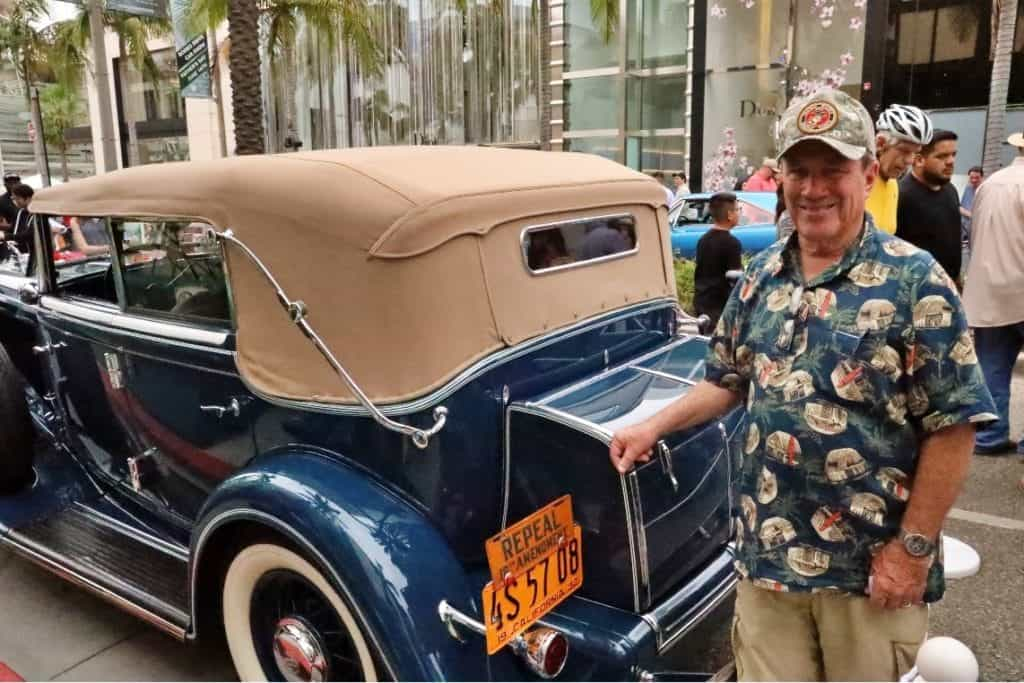 Dana Graham with his 1932 Chrysler Imperial at the Rodeo Drive Concours d'Elegance.