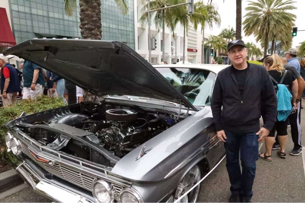 Keith Gurnick with his 1961 Chevy Parkwood Station Wagon at the Rodeo Drive Concours d'Elegance