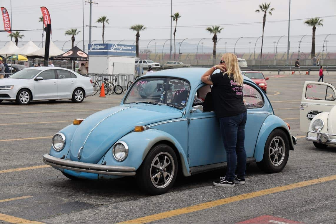 Racer Laura Schnekenburger and her bug